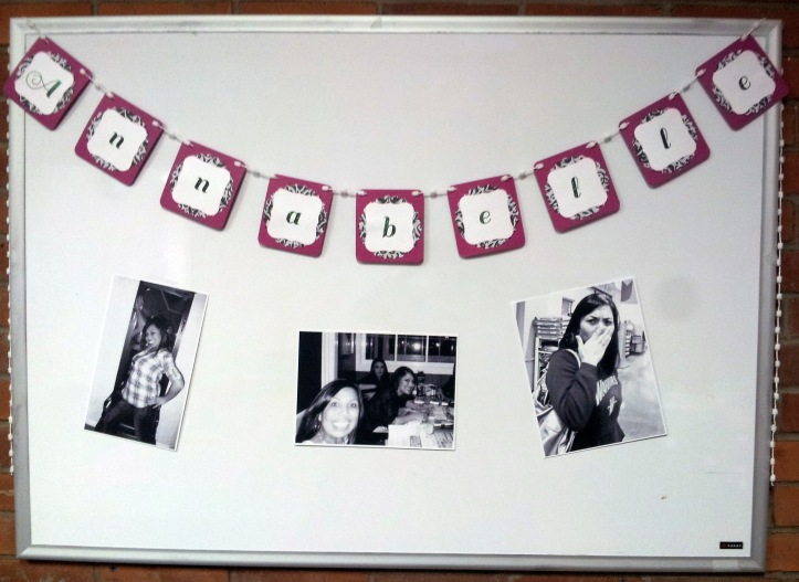 A name banner with silly pics of the birthday girl!