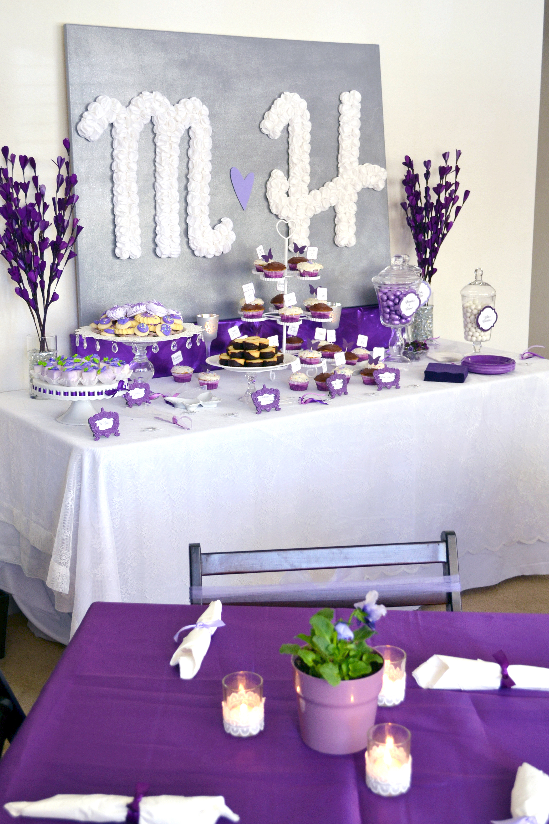 Pretty purple bridal shower for Decoration decoration