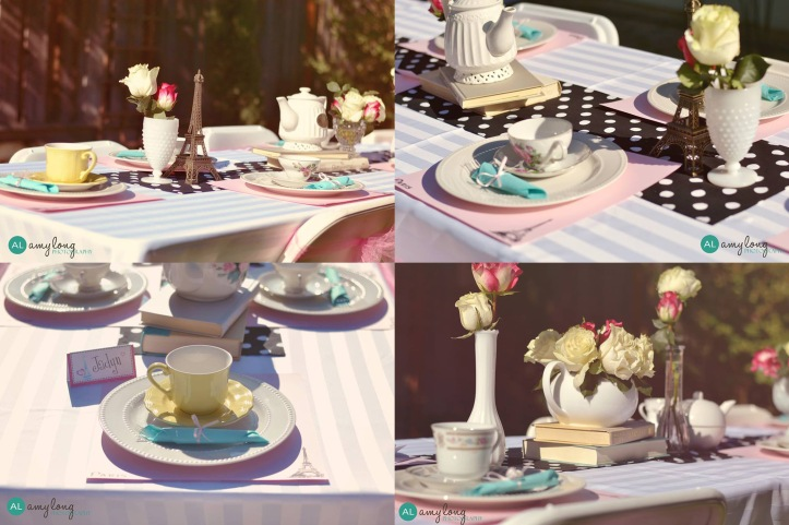 Parisian tea party table decor