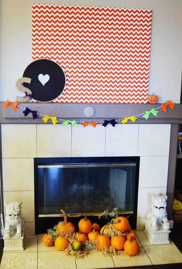 Lil Pumpkin fireplace mantle