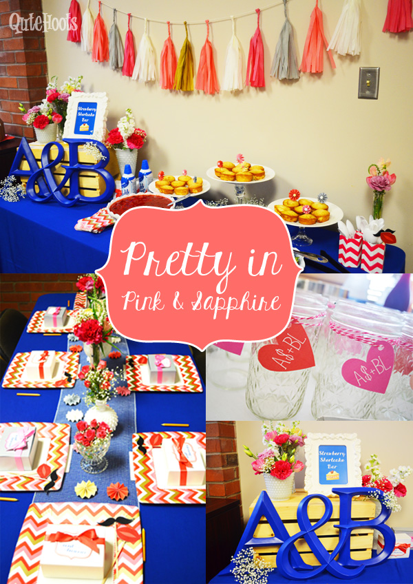 pretty in pink and sapphire bridal shower