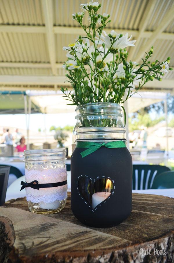 mason jars and tree slice centerpiece