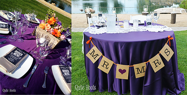 purple and orange wedding reception