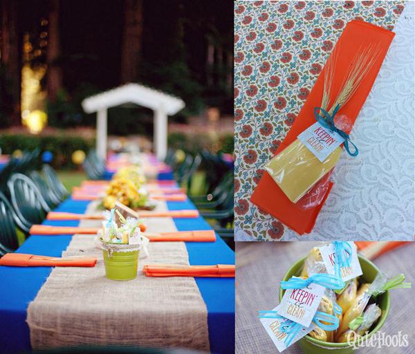 Table setting, napkin and wet nap kits.