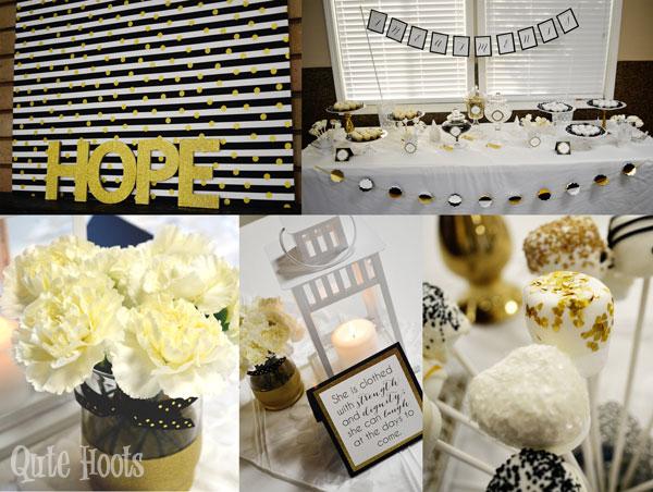 black gold white spa party