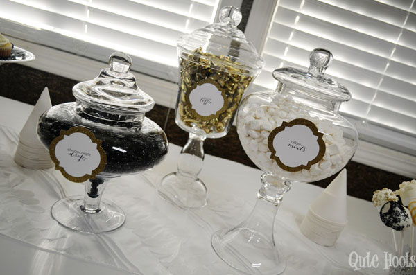 candies black gold white spa party