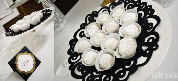 cookies black gold white spa party