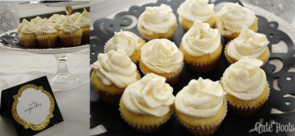 cupcakes black gold white spa party