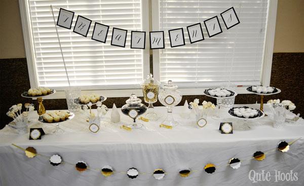 desserts black gold white spa party