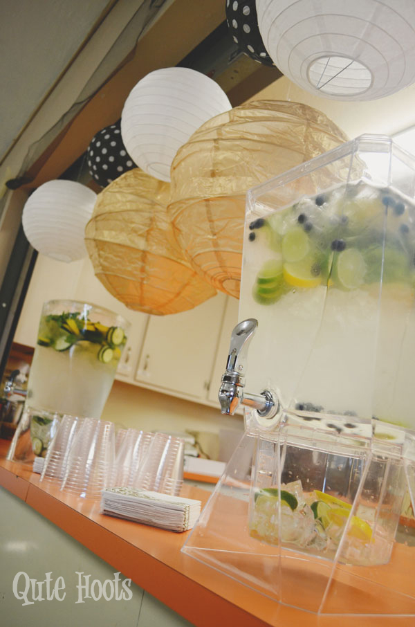 infused water black gold white spa party