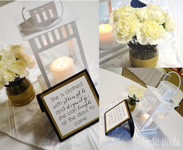 table decor black gold white spa party