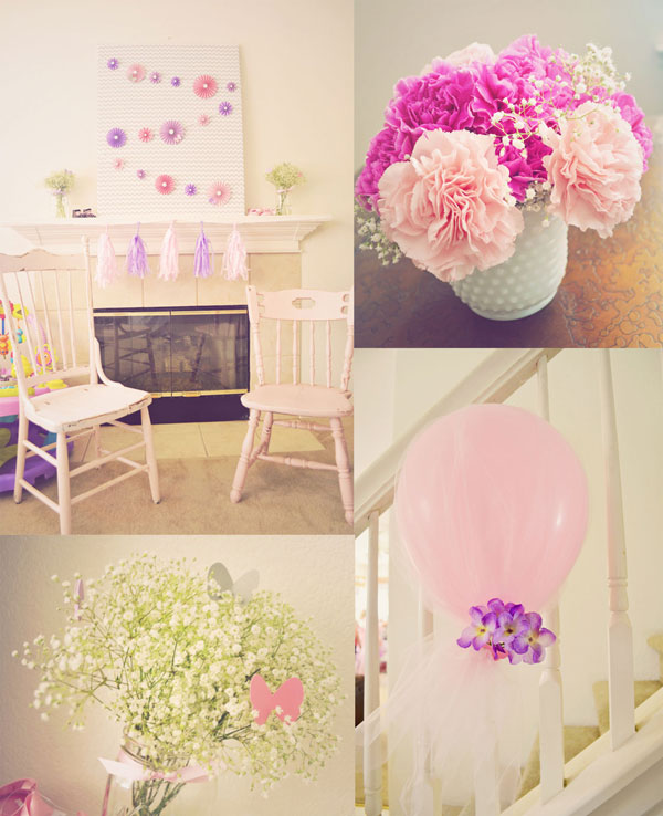 Pretty pink and purple baby shower decor