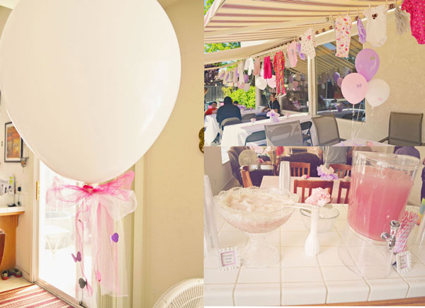 decor for sign in for Pretty pink and purple baby shower