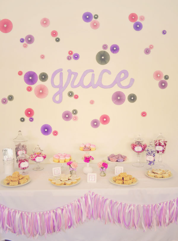 dessert table pretty pink and purple baby shower