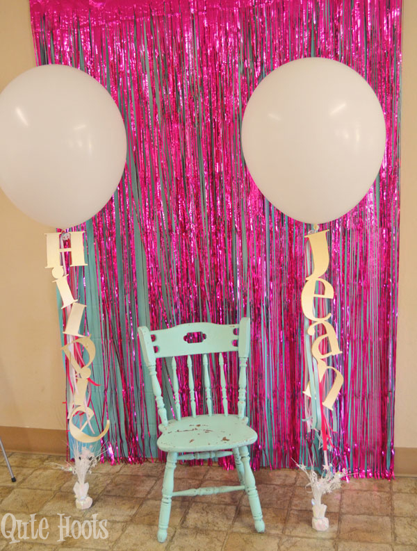 Pink Aqua Gold photo backdrop