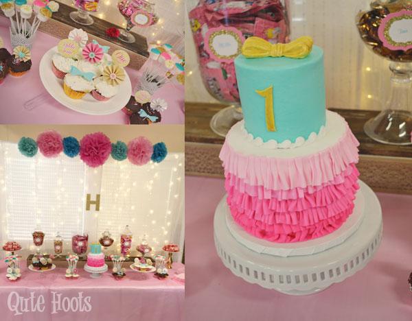 aqua pink gold desserts table