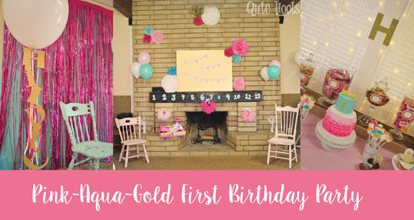 pink aqua gold first birthday