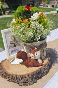 tribal woodland baby shower table decor